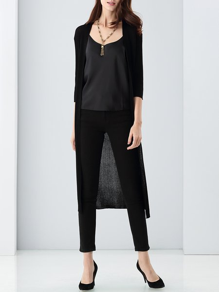 Black Plain 3/4 Sleeve Knitted Slit Cardigan