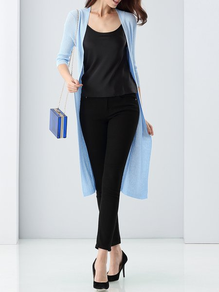 Light Blue Knitted Slit 3/4 Sleeve Cardigan