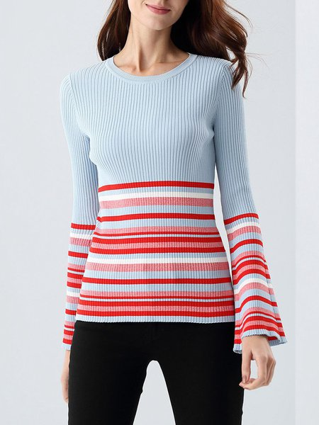 Knitted Casual Frill Sleeve Sweater