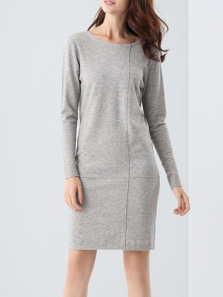 Elegant Long Sleeve Plain Wool Blend Midi Dress