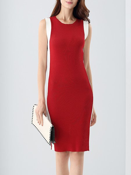 Color-block Knitted Elegant Wool blend Sleeveless Midi Dress