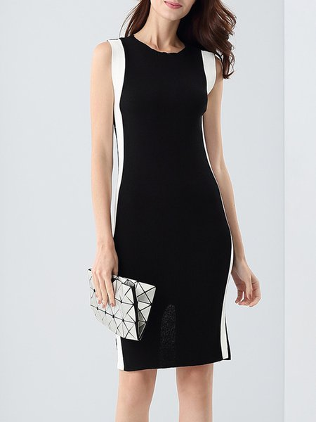 Sleeveless Color-block Elegant Knitted Bodycon Midi Dress