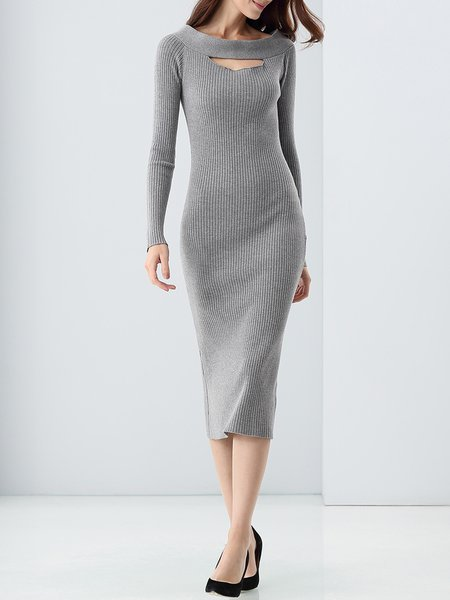 Elegant Plain Bodycon Long Sleeve Knitted Sweater Dress