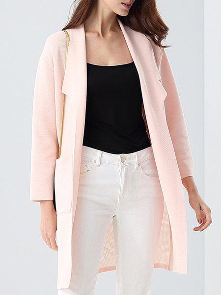 Pockets 3/4 Sleeve Elegant Knitted Cardigan Brooch
