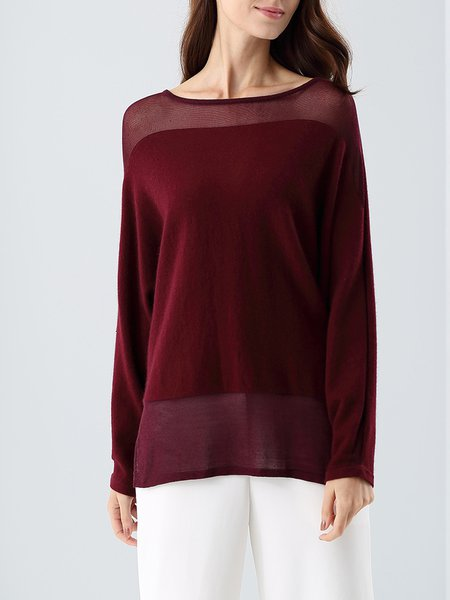 Wine Red Wool Blend Long Sleeve Top