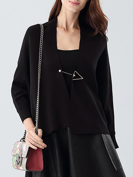 Black Batwing Plain Knitted Cardigan With Brooch
