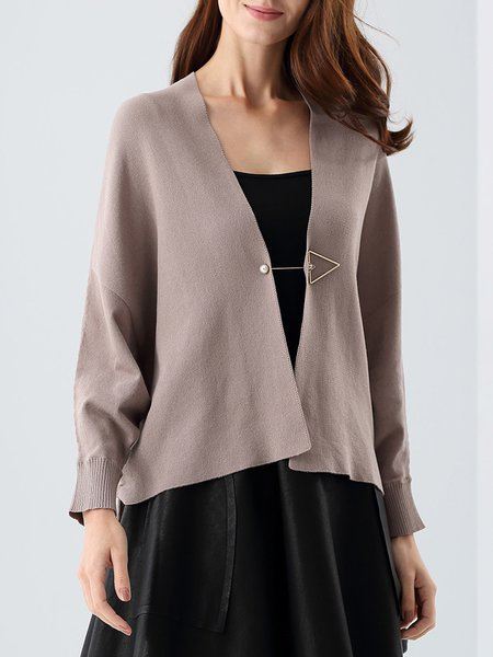 Casual Knitted Batwing Cardigan With Brooch