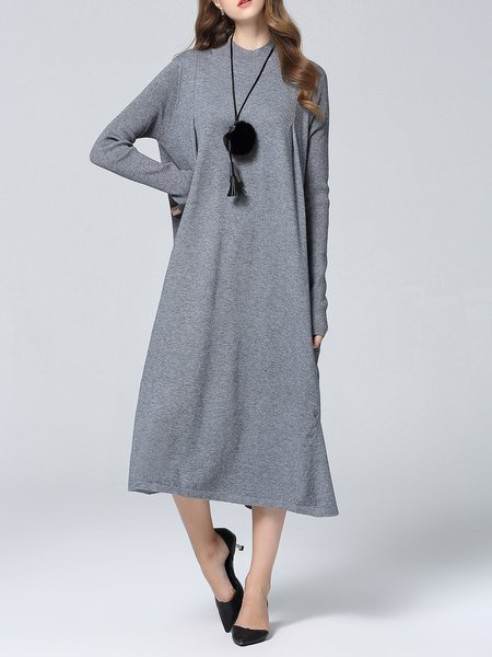 Casual Silk-blend Plain Knitted Long Sleeve Shift Midi Dress
