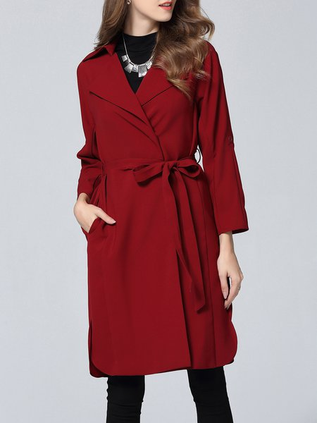 Long Sleeve Slit Plain Elegant Trench Coat With Belt