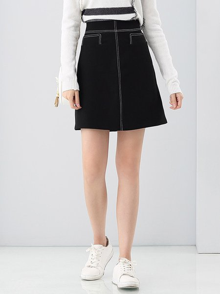 Black Casual A-line Binding Mini Skirt
