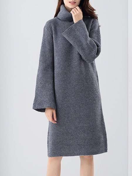 Gray Shift Turtleneck Long Sleeve Plain Knitted Sweater Dress