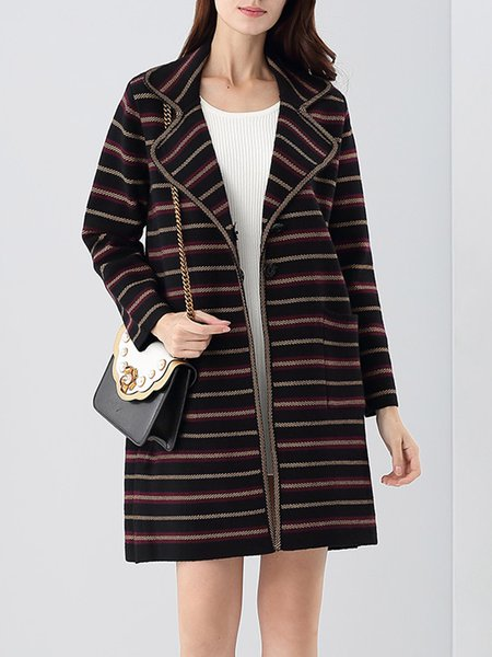 Stripes Wool Blend Long Sleeve Casual Lapel Knitted Coat