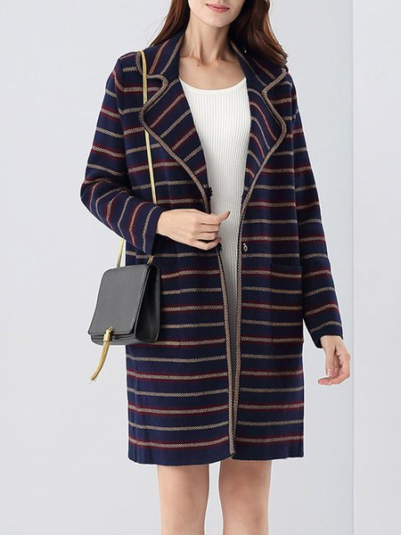 Lapel Long Sleeve Stripes Wool Blend Coat