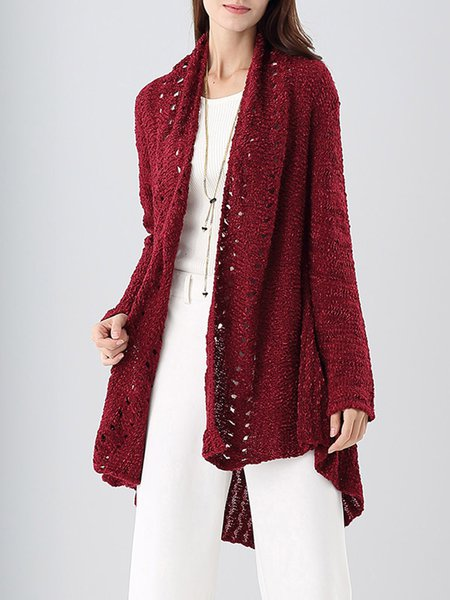 Red Plain Pierced Asymmetrical Casual Wool blend Cardigan