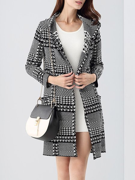 Black Hoodie Houndstooth Knitted Long Sleeve Coat