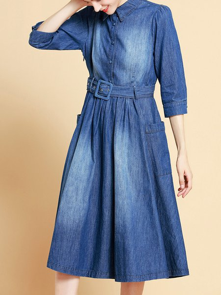 Casual Shirt Collar Washed 3/4 Sleeve Midi Dress