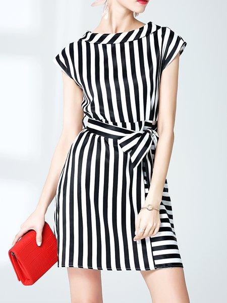 Black-white  Shorts Sleeve Mini Dress