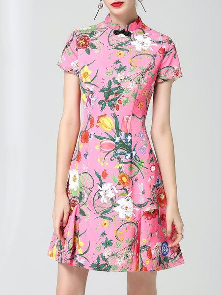 Shorts Sleeve Stand Collar A-line Floral Vintage Midi Dress
