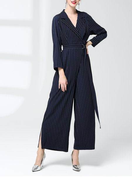 Dark Blue Stripes Lapel Long Sleeve Jumpsuits