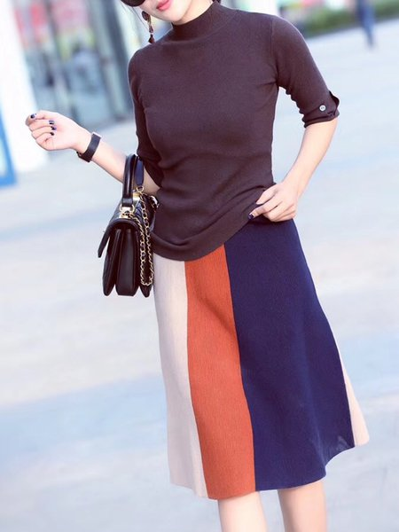 Elegant Half Sleeve Solid Stand Collar Polyester Top With Skirt
