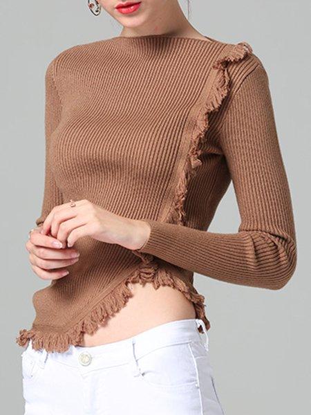 Brown Slash Neck Solid Elegant Ribbed Sweater