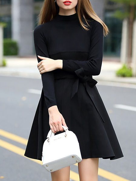 A-line Elegant Crew Neck Plain Long Sleeve Mini Dress With Belt