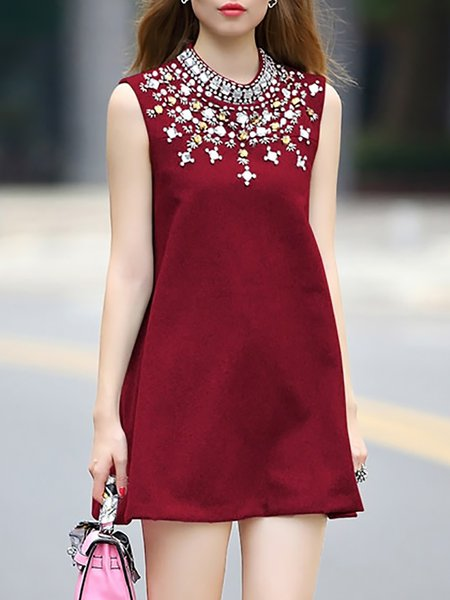 Sleeveless Stand Collar Cotton-blend Casual Mini Dress