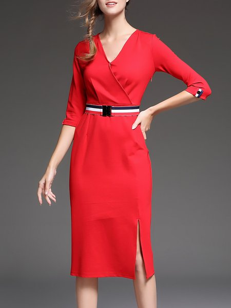 Red V Neck Elegant Bodycon Midi Dress With Belt