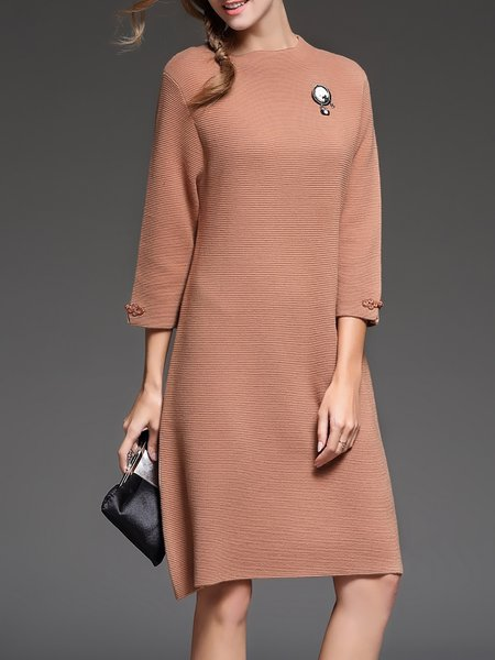 Khaki Shift Plain 3/4 Sleeve Knitted Sweater Dress
