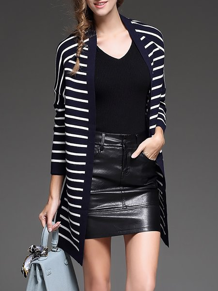 Stripes Long Sleeve Casual Knitted Cardigan