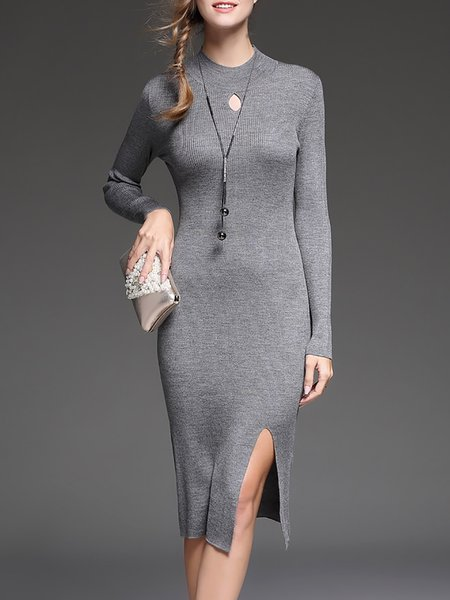 Gray Knitted Turtleneck Solid Long Sleeve Sweater Dress