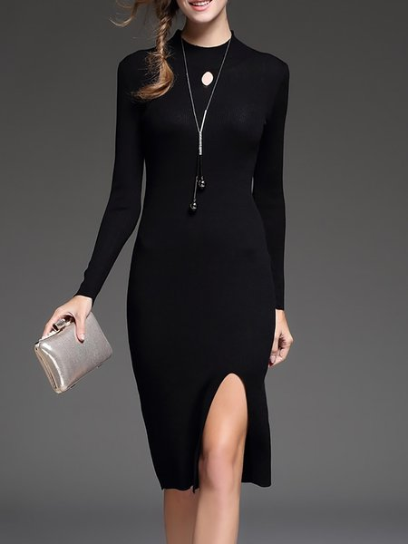Black Turtleneck Knitted Long Sleeve Wool Sweater Dress
