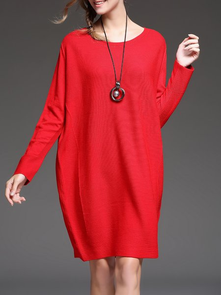 Red Knitted Casual Midi Sweater Dress