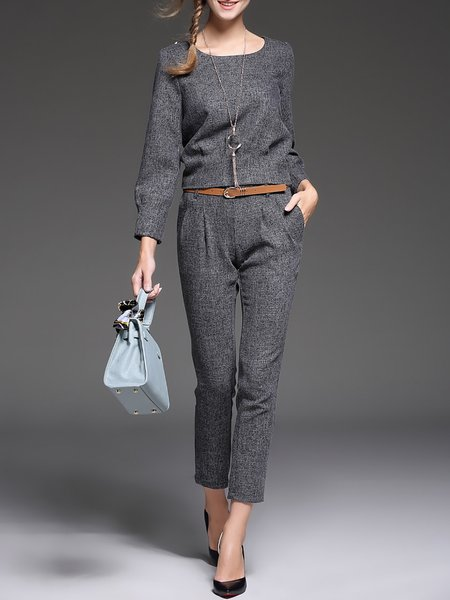 Gray Crew Neck Two Piece Plain Long Sleeve Jumpsuit