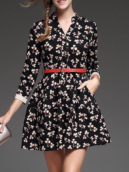 3/4 Sleeve Floral-print Vintage Mini Dress