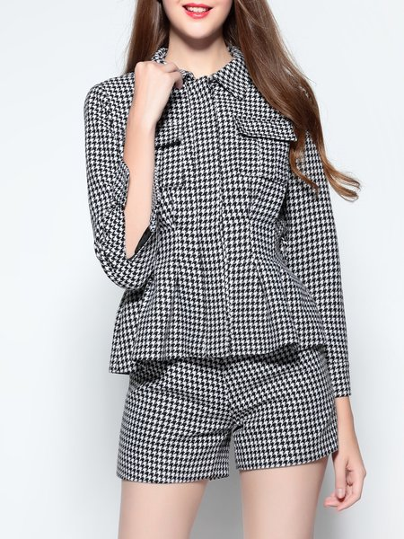 Black-white 3/4 Sleeve Houndstooth Top With Pants