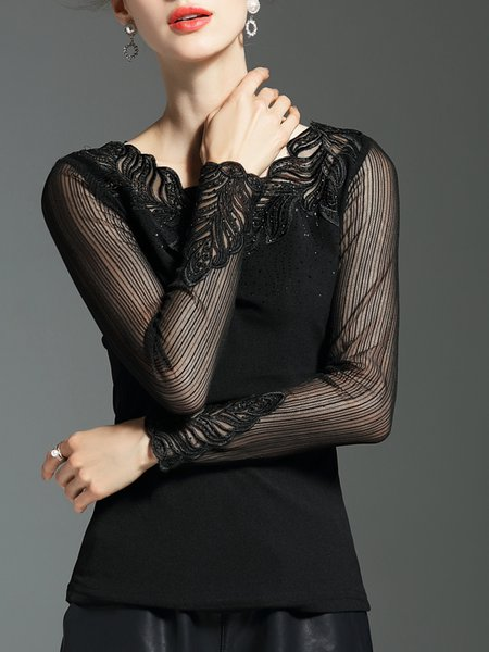 Black Embroidered Long Sleeved Top