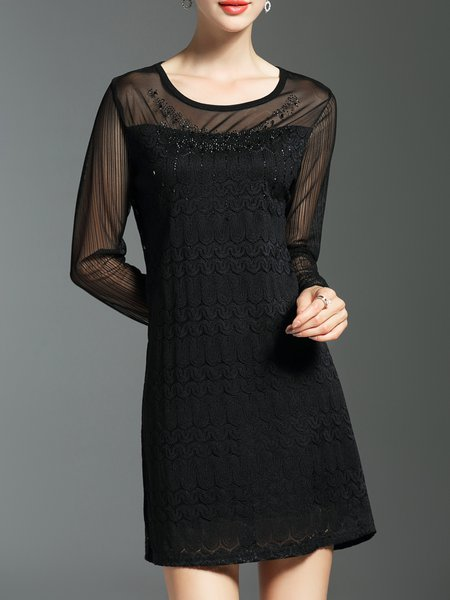 Black A-line  Elegant Guipure Lace Midi Dress