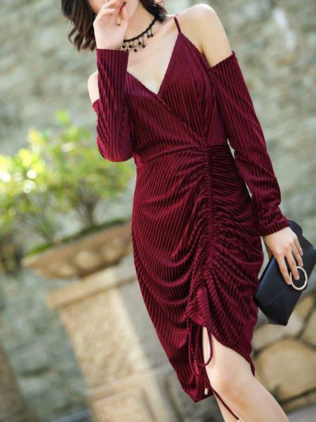 Spaghetti Sexy Draped Long Sleeve Solid Wrap Dress