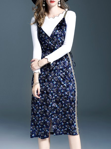 Elegant Paneled Sheath Long Sleeve Dress With Top
