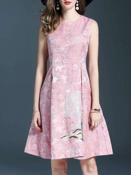 Pink Sleeveless A-line Jacquard Crew Neck Midi Dress