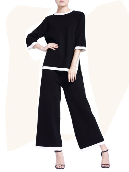 Half Sleeve Wool Two Piece Simple  Slit Color-block Jumpsuit