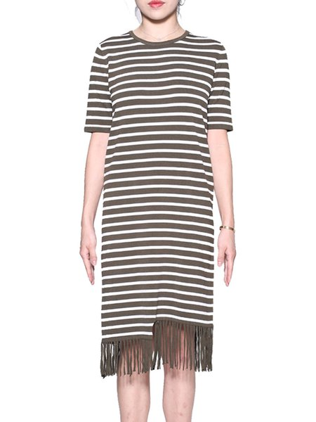 Green Crew Neck Short Sleeve Stripes Fringed Midi Dress