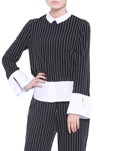 Shirt Collar Casual H-line Stripes Print Paneled Long Sleeved Top