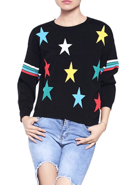 Black Crew Neck Geometric H-line Long Sleeve Knitted Sweater