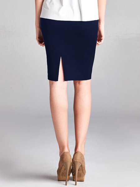 Navy Blue Rayon Simple H-line Plain Pencil Skirt - StyleWe.com
