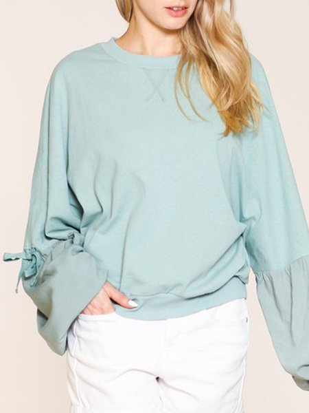 Mint Frill Sleeve Crew Neck Casual Top