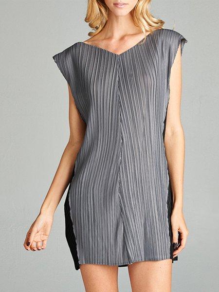 Gray Sleeveless Color-block Mini Dress