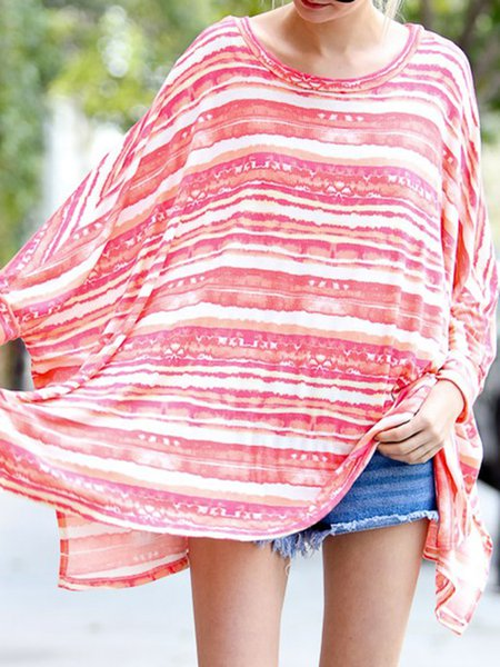Pink Slit Stripes Batwing Tunic
