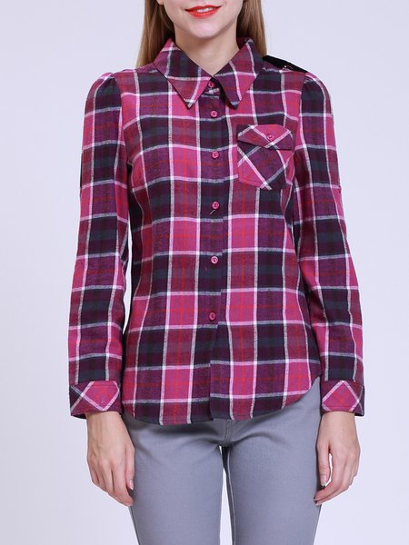 Checkered/Plaid Shirt Collar Buttoned Pockets Long Sleeved Top